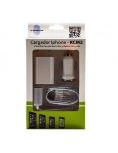 CARGADOR IPHONE CASA/COCHE + AURICULAR KCM2