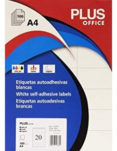 Etiquetas 105x29 autoadhesivas Plus Office blancas de cantos rectos (2000 eti/caja)