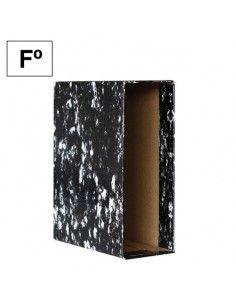Caja archivador cartón Plus Office AZ Negro Jaspeado Folio