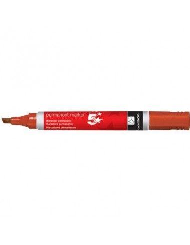 5 STAR Marcador permanente Rojo Trazo 1-4mm Punta biselada