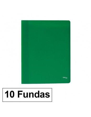 Carpeta Flexible con 10 fundas Plus Office A4 verde