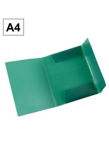 Carpeta Plus Office A4 polipropileno gomas y solapas verde