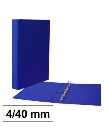 Carpeta de anillas y cartón forrado en PP 4/40mm azul