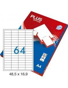 Etiquetas autoadhesivas 64 por hoja 48,5x16,9mm cantos rectos 100 hojas Plus Office