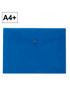 Sobre 2020 A4+ PP azul apaisado broche Plus Office